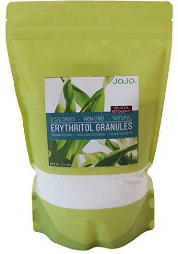Erythritol Natural Sweetener Granules 2.5lbs NON-GMO Gluten-Free Paleo Ketogenic. Perfect for baking sugar free recipes + 5 Sugar Free Recipes Included With Your (Natural Sweetener Recipes)