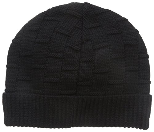 Ben Sherman Men's Rib Knit Cuff Beanie, Jet Black, One Size