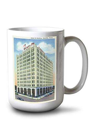 Lantern Press Amarillo, Texas - Santa Fe Building Exterior View (15oz White Ceramic Mug) ()
