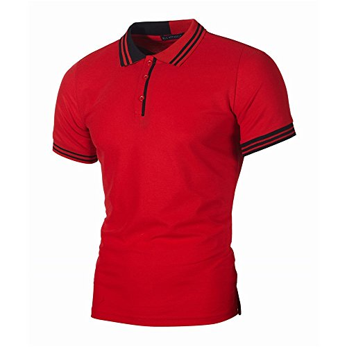 F_Gotal Polo Shirt for Mens, Men's Short Sleeve Button Up Shirt Big and Tall Summer Casual Blouse Tops