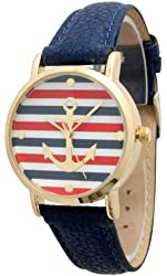 Women's Geneva Multi Color Striped Anchor Leather Watch - Navy