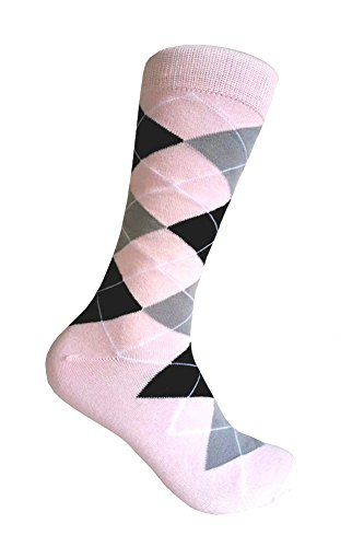 (Men's Groomsmen Wedding|Party Events|Gala Collection Argyle Dress socks,Light Pink/Light Gray/Black)