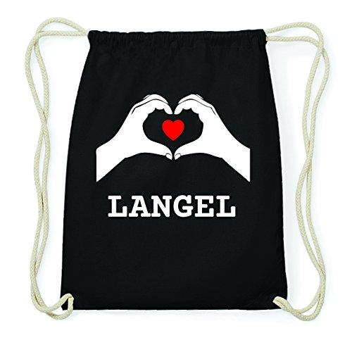 JOllify LANGEL Hipster Turnbeutel Tasche Rucksack aus Baumwolle - Farbe: schwarz Design: Hände Herz