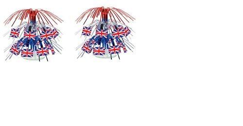 Beistle 57371 British Flag Mini Cascade Centerpiece, 7.5 Inch (2-Pack)