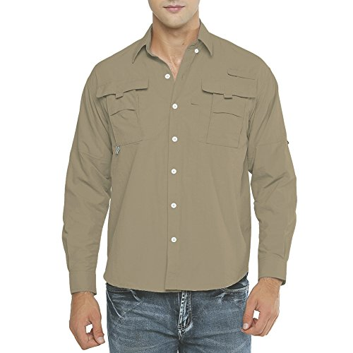 Men's Long Sleeve Fishing Shirts, Sun Protection Breathable Quick Dry Casual for Work Travel Sailing Khaki