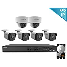 2MP IP Security Camera System, Laview 8 Channel Video NVR Recorder 2TB Hard Drive, 4 Bullet 2 Dome 1080p Waterproof IP66 CCTV Indoor/Outdoor Home Surveillance System 100ft Night Vision