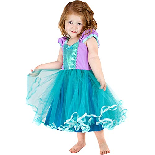 (Princess Girl Dress Little Mermaid Cinderella Rapunzel Costume for Toddler Girls Birthday Party Dress up)