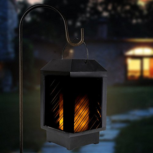 Fenleo Solar Lantern Light, Solar Powered Outdoor Garden Yard Wall Fence Pathway Lamp Gutter Flames Light Review