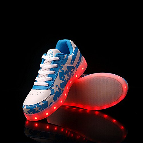 O & N Led Schoenen Mannen Vrouwen Usb Opladen 7 Kleuren Knipperende Sneakers Jongens Meisjes Lage Top Oplichten Paar Schoenen Blauw
