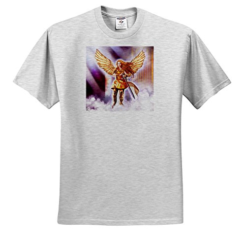 (3dRose Dream Essence Designs-Angels - Beautiful Guardian Angel In Armor With Clouds and Gates Of Heaven - T-Shirts - Adult Birch-Gray-T-Shirt 4XL (TS_262329_24))