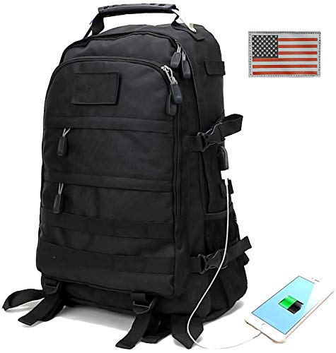 Military Tactical Backpack for Men Outdoor Hunting Backpack Travel Laptop Bag Assault Pack Army Molle Bug Out Rucksack, USB Charging Port, Motorcycle, School, Survival, Hiking, Camping for Boys ()