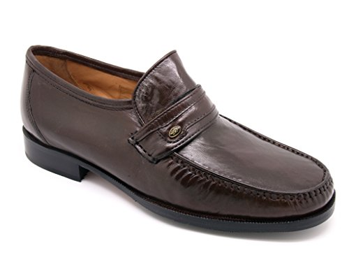 Fontana Moccasin Slippers with Artisan manufacture, Leather Uppers And Linings leather sole with non-slip rubber Brown