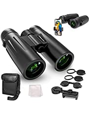 UBeesize 12x42 Compact Binoculars with Universal Phone Holder, Binoculars for Adults with Super Bright and Large View, Lightweight Waterproof Binoculars for Bird Watching, Stargazing and Hunting
