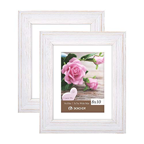 Boichen 8x10 Picture Frames Rustic Solid Wood High Definition Glass for Tabletop Display and Wall Mounting Photo Frame White 2 Pack (Distressed Frames White Wall)
