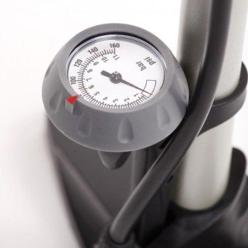 EyezOff EZ55 High Pressure Bike Floor Pump w// Gauge and Ergonomic 2-tone Handle Steel Barrel