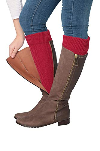 Isadora Paccini Women's Cable Knit Leg Warmers, One Size, LW14, red ()