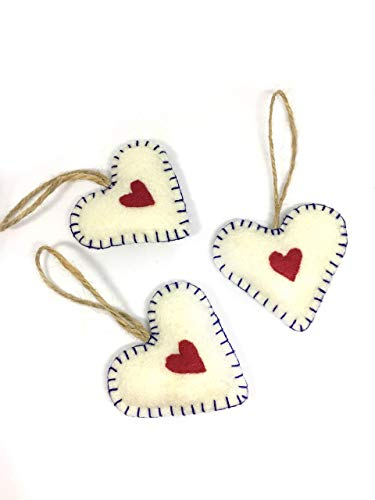 Unbreakable Heart Shaped Christmas Tree Ornament Set of 3 Holiday Decoration Felt Gift Topper