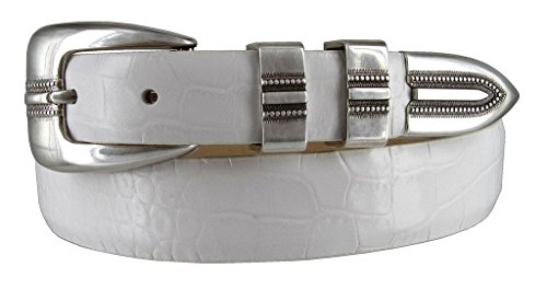 Ladies Designer Belts (Vincent Silver Genuine Italian Calfskin Leather Designer Dress Belt for Women(Alligator White,)