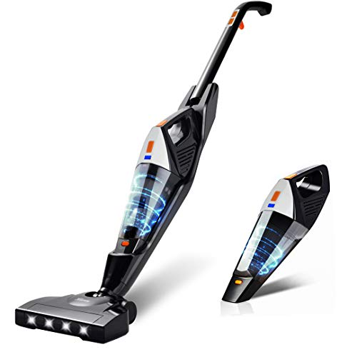 Cordless Vacuum, Hikeren 12000 Pa Cordless Stick Vacuum, 2 in 1 Lightweight Cordless Vacuum Cleaner with Rechargeable Lithium Ion Battery for Hardwood Floor Carpet Pet Hair, White