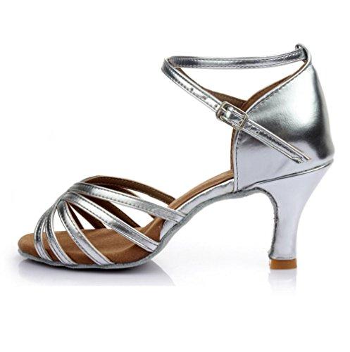 Sólo Baile Interior Femenina Piezas Suave 7cm Plata Cinco América De Satén Zapatos Inferior qtEwnXZ