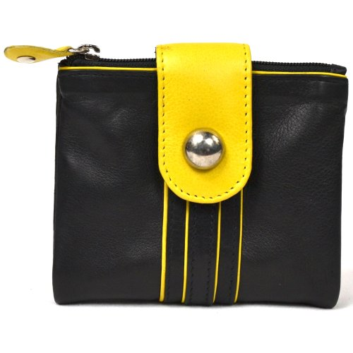 Ladies Soft Leather Purse with Coin, Note and Card Holders and Attractive Fold Over Fastner Design Yellow