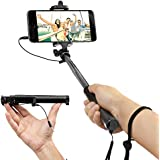 EEZ-Y Foldable Selfie Stick w/ Wired Connectivity - Portable & Battery Free - Seamlessly Connects via Cable with iPhone Samsung Sony Lg Nexus Devices - Perfect Pictures at the Perfect Time (Black)