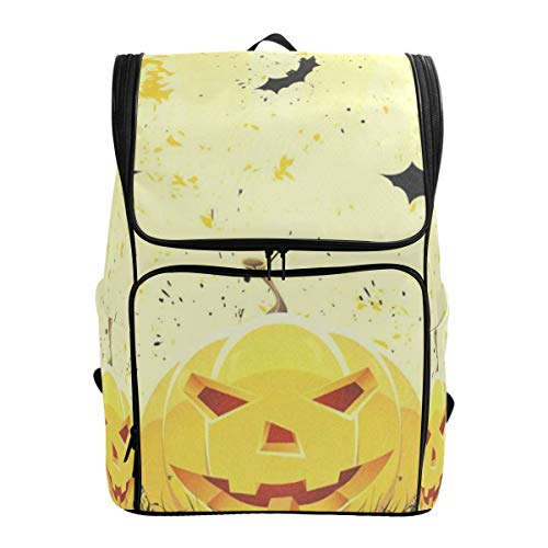 - Laptop Backpack Grungy Halloween with Pumpkins and Bats Gym Backpack for Men Large Boxy Back Pack