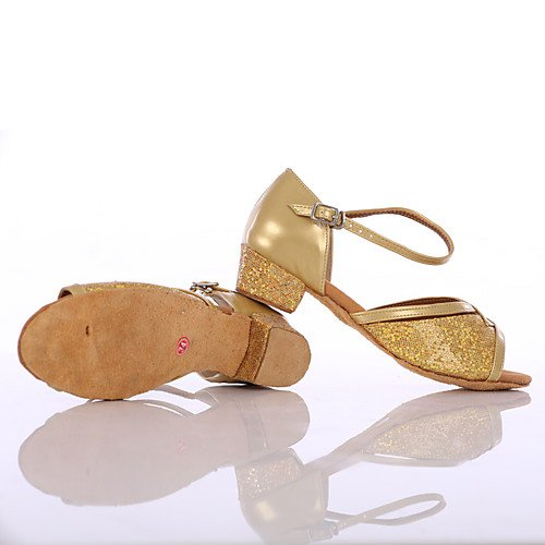 Sneakers T Shoes Golden Heel Q Chunky Dance Women's Paillette Heels Golden T Yxdwaqd