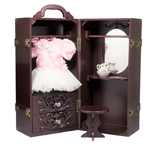 The Queen's Treasures Doll Trunk Storage Case for 18 Inch Dolls, Clothing, Shoes & Accessories.Mahogany Stained Wood with Removable Vanity, Stool Plus 4 Clothing Hangers ()