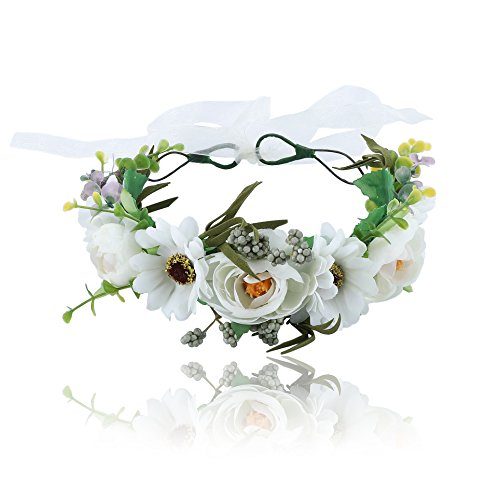 Flower Halo Crown Floral Headpiece - AWAYTR Bohemia Seashell Turritella Flower Headband Hair Wreath Garland for Women Girls (White) -