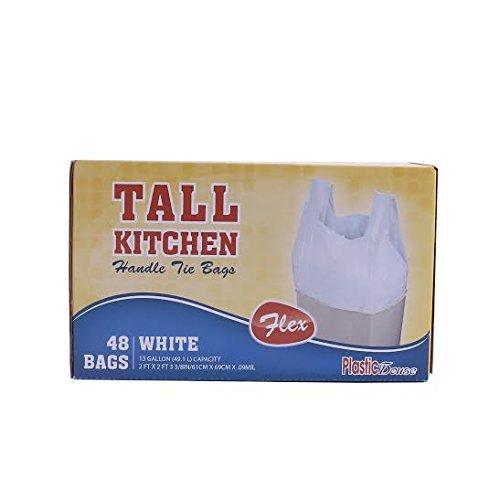 HANDLE TIE FLEX WHITE TALL KITCHEN TRASH BAGS, 13 GALLON, 48 CT
