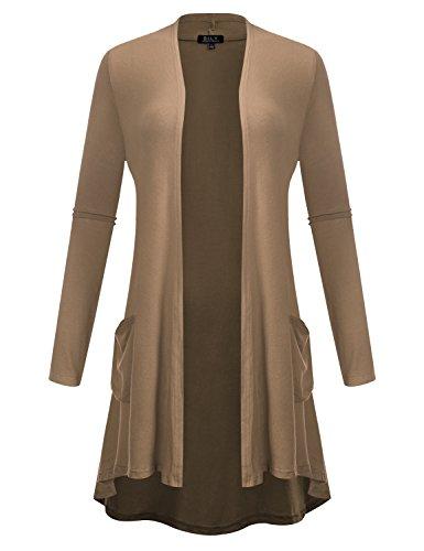 BILY Women's Open Front High-Low Long Sleeve Front Pockets Cardigan Mocha XXX-Large ()