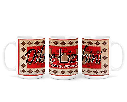 Dibe? ?izhini? (Black Sheep) Navajo Clan with Red Rug Background on 15 Ounce White Coffee Mug