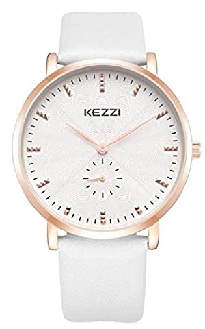 Watches Men White Leather Strap with Small Dial Simple Fashion Quartz Analog Watch Outdoor Sports Waterproof Casual Wristwatches with a Beatiful Box Gift for Your (Mens Leather Watches Small)
