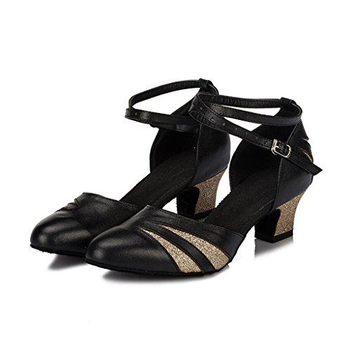 Meijili - plataforma mujer negro/dorado