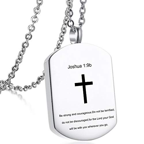 LiFashion LF Stainless Steel Christian Cross Cremation Necklace,Joshua Bible Verse Cremation Jewelry Scripture Quote Pendant Locket Memorial Urn Keepsake for Mom Dad Human Ashes