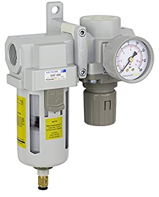 "PneumaticPlus SAU420-N06DG Compressed Air Filter Regulator Combo 3/4"" NPT - Poly Bowl, Auto Drain, Bracket, Gauge"