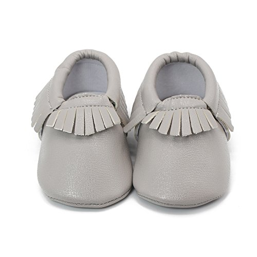 Delebao Unisex Baby Soft Sole Tassels Crib Shoes Moccasins Loafers (6-12 Months, Light Grey)