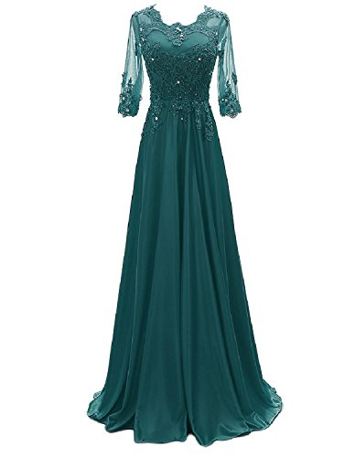 OYISHA Women's 1/2 Sleeve Lace Beaded Formal Evening Dress with Sleeves Long Mother of The Bride Dresses Jade 2