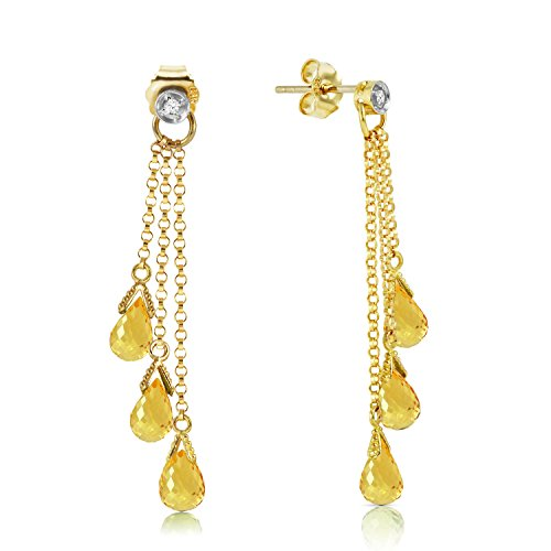 7.38 Carat 14K Solid Gold Chandelier Earrings Diamond Citrine