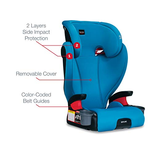41qaeXW1XHL - Britax Skyline 2-Stage Belt-Positioning Booster Car Seat - Highback And Backless | 2 Layer Impact Protection - 40 To 120 Pounds, Teal