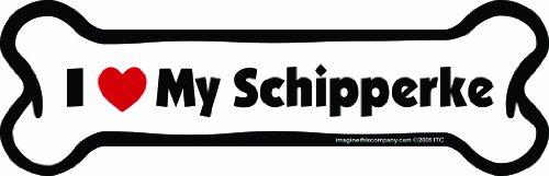 Imagine This Bone Car Magnet, I Love My Schipperke , 2-Inch by 7-Inch
