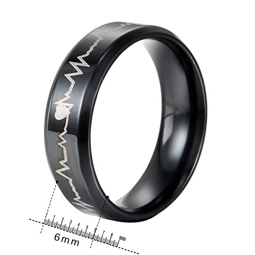 Heraculs Stainless Steel Ring, 316L 6mm Black IP with Heartbeat Laser Etched Band For Man Women Size 5
