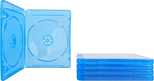(5) Empty Standard Double Blue Replacement Boxes / Cases for Blu-Ray Disc Movies BR2R12BL (Disc Case Double)