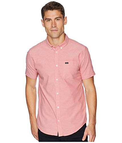 RVCA Men's Thatll DO Stretch Short Sleeve Woven Button up Shirt, Pompeii Red, (Button Down Stretch Woven Shirt)