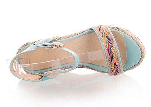 Couleur Cheville avec Talons D'été Plateform Compensees Confortables Sandales à pour UH Bleu Bride et Femmes wq81ZnP