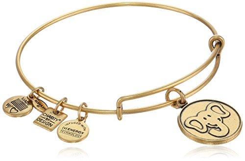 "Alex and Ani ""Charity by Design"" The Elephant Rafaelian Gold-Tone Expandable Wire Bangle Bracelet"