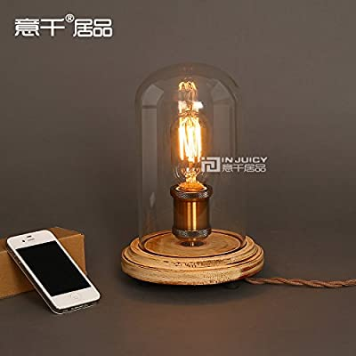 Injuicy Lighting Vintage Industrial Table Light Glass Edison Bulb Wooden Desk Accent Lamp E27