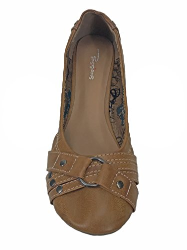Passions Footwear Brown Mojito Flats With Strap Detail V7jmw