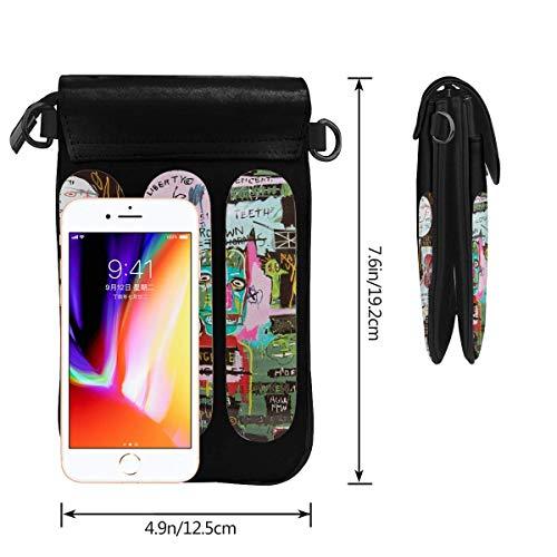 Hdadwy mobiltelefon crossbody väska Jean Michel Basquiat läder smartphone crossbody plånbok handväska, kvinnor liten axelremsväska